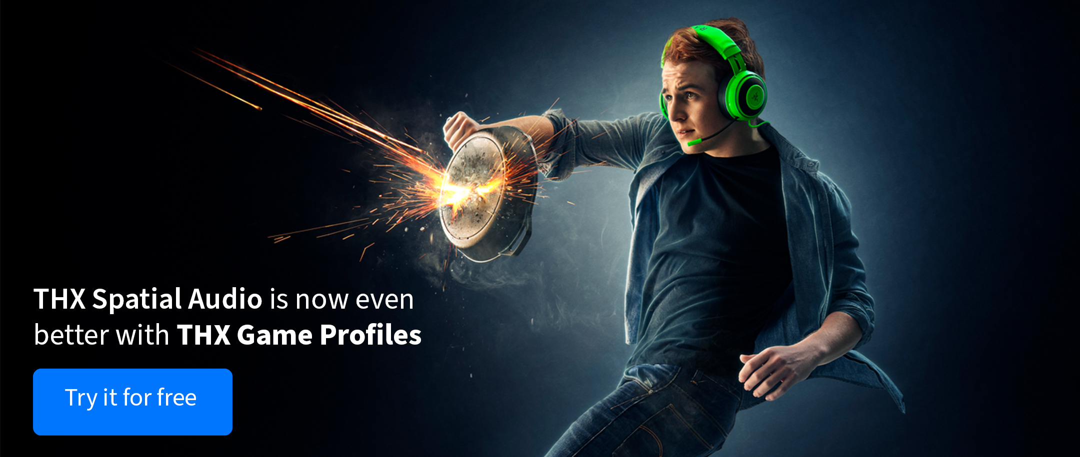 Man holding frying pan with Razer Kraken TE headset with THX Spatial Audio