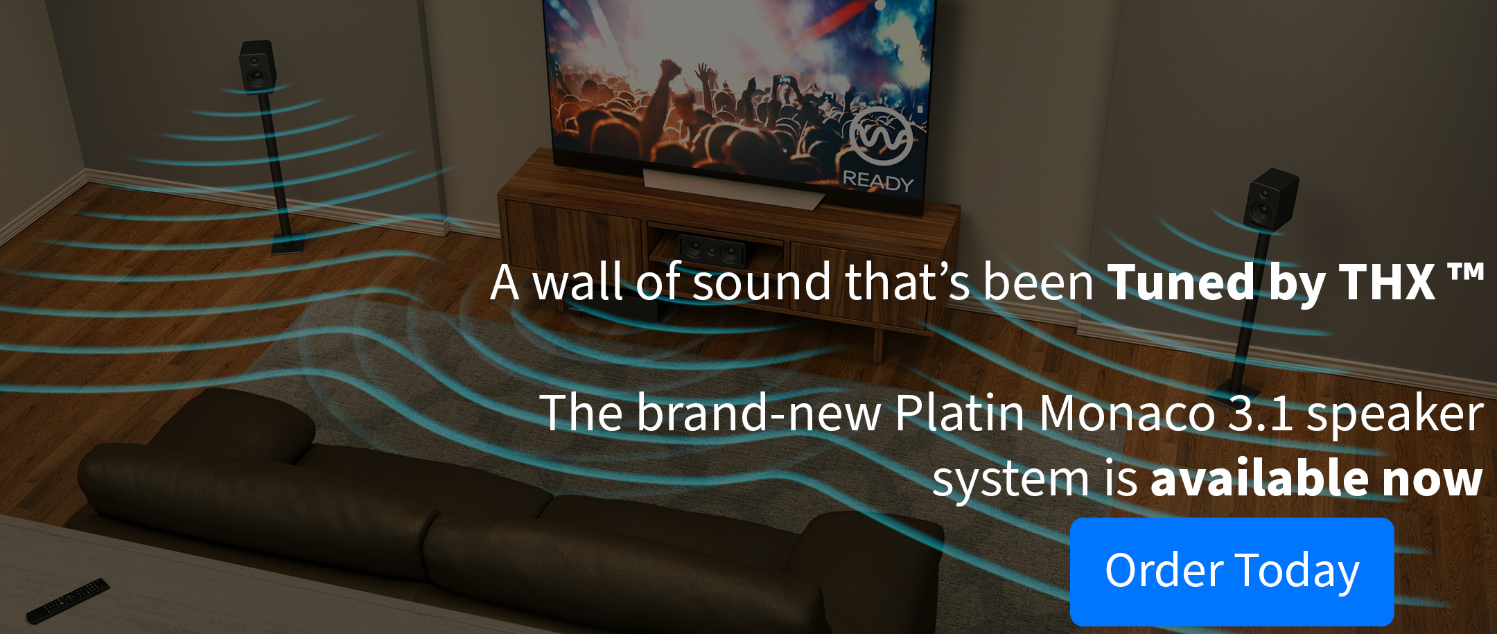 Tuned by THX Platin Monaco 3.1 Speaker system connected to a TV