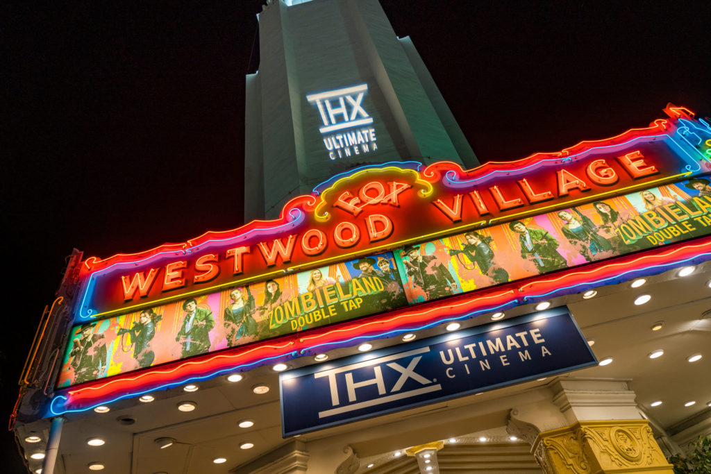 The Regency Westwood Village theater in Los Angeles, California with the THX Ultimate Cinema logo
