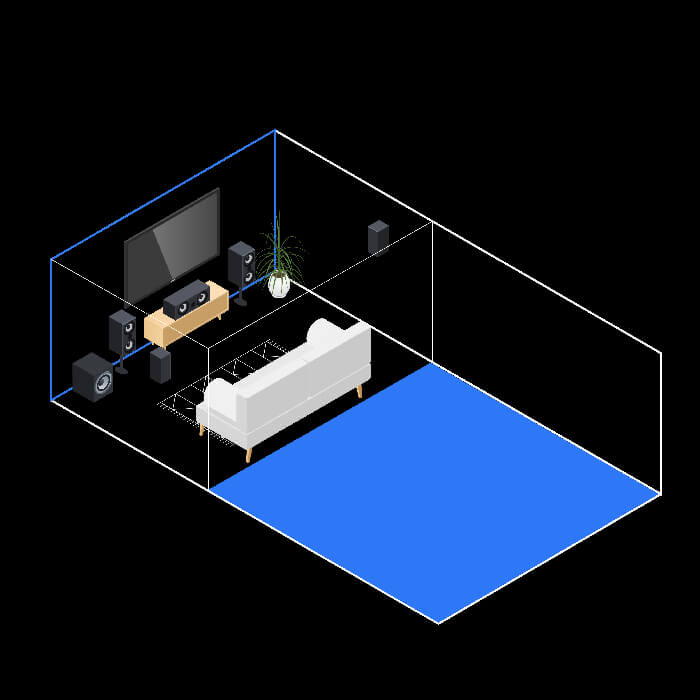 Diagram of a 5.1 surround sound system in a room with an eight-foot viewing distance