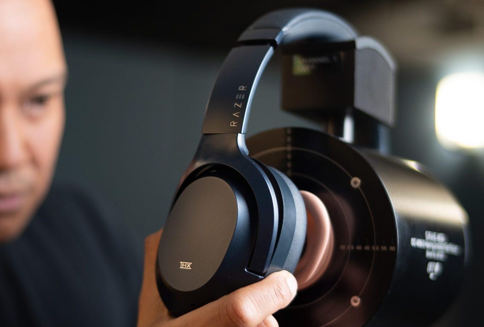 testing Razer Opus headphones in THX lab