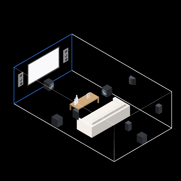 A diagram of a 7.1 surround sound system in a home theater with a twelve-foot viewing distance