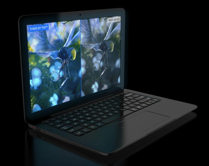 A MOTILE laptop with a Tuned By THX display