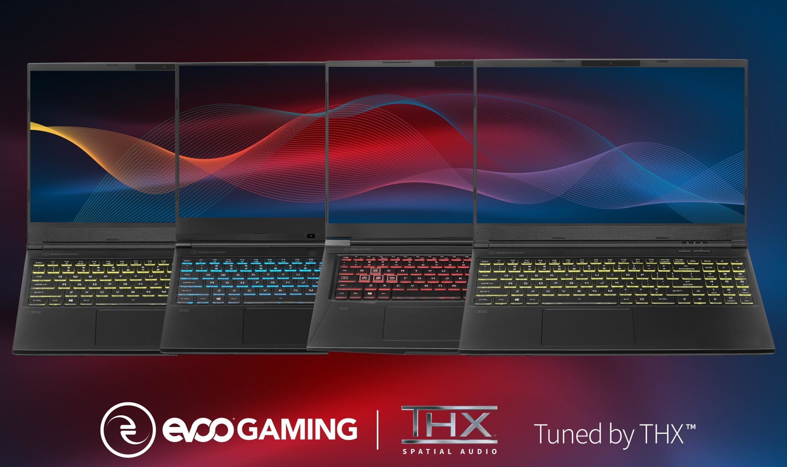 EVOO Gaming laptops featuring THX Spatial Audio and Tuned By THX